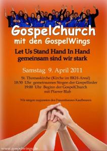 Flyer zur Gospelchurch mit den Gospelwings in Kaufbeuren